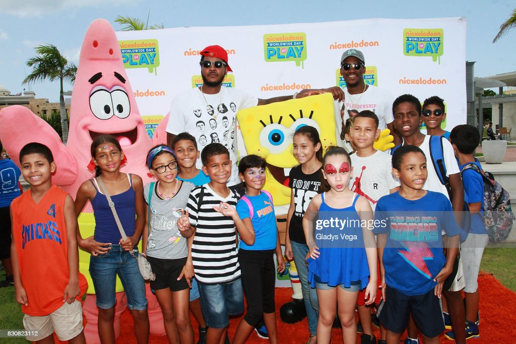 Carmelo Anthony and Jimmy Butler enjoy with kids and Nickelodeon Characters as part of Worldwide Day of Play at Bahia Urbana Bay Side Park on August 12, 2017 in San Juan, Puerto Rico.