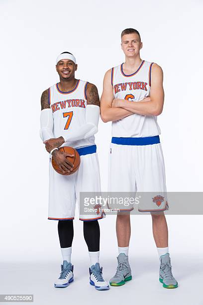 Carmelo Anthony and Kristaps Porzingis of the New York Knicks pose for a portrait at Media Day at the MSG Training Facility in Greenburgh New York on...
