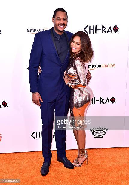 Carmelo Anthony and La La Anthony attend the 'CHIRAQ' New York premiere at the Ziegfeld Theater on December 1 2015 in New York City