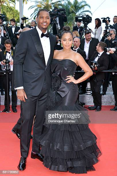 Carmelo Anthony and La La Anthony attend the 'Loving' premiere during the 69th annual Cannes Film Festival at the Palais des Festivals on May 16 2016...