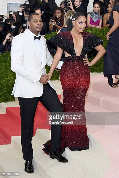 Carmelo Anthony and La La Anthony attend the 'Manus x Machina Fashion In An Age Of Technology' Costume Institute Gala at Metropolitan Museum of Art...