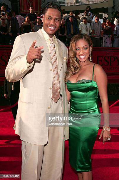 Carmelo Anthony and La La Vasquez during 2005 ESPY Awards Arrivals at Kodak Theatre in Hollywood California United States