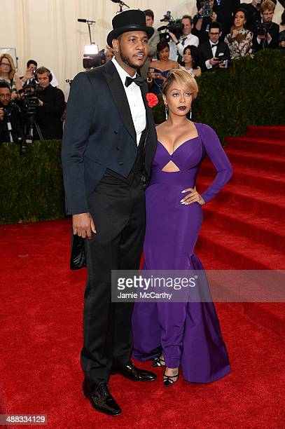 Carmelo Anthony and LaLa Anthony attend the 'Charles James Beyond Fashion' Costume Institute Gala at the Metropolitan Museum of Art on May 5 2014 in...
