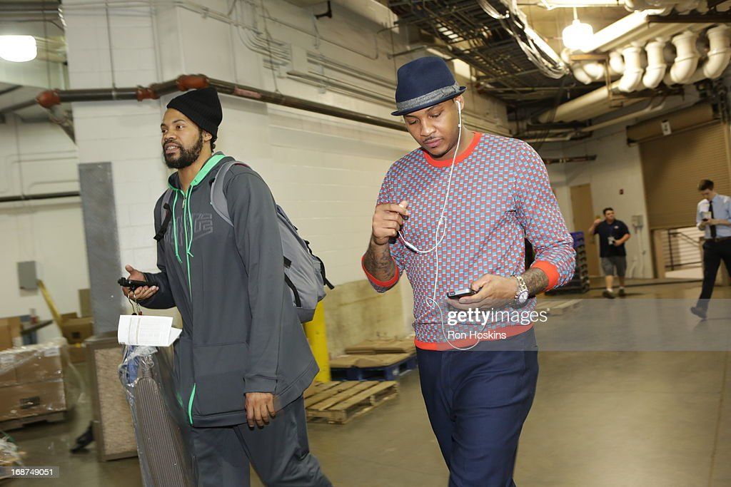 Carmelo Anthony #7 and Rasheed Wallace of the New York Knicks arrive before Game Four of the Eastern Conference Semi-finals against the Indiana Pacers during the NBA Playoffs on May 14, 2013 at Bankers Life Fieldhouse in Indianapolis, Indiana.
