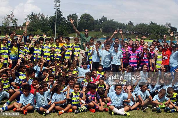 Carmelo Anthony attends a soccer clinic for children one day after he announced the purchase of Puerto Rico FC who will join the North American...