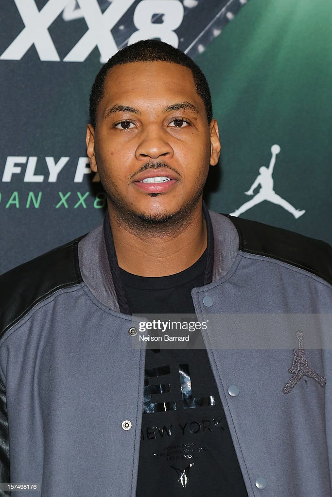Carmelo Anthony attends the Dare To Fly AJXX8 event at PH-D Rooftop Lounge at Dream Downtown on December 3, 2012 in New York City.