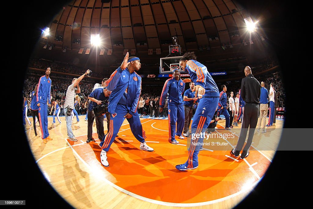 <a gi-track='captionPersonalityLinkClicked' href=/galleries/search?phrase=Carmelo+Anthony&family=editorial&specificpeople=201494 ng-click='$event.stopPropagation()'>Carmelo Anthony</a> #7 is introduced against the New Olreans Hornets on January 13, 2013 at Madison Square Garden in New York City.