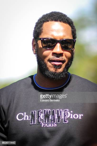 Carmelo Anthony is seen outside the Dior show during Paris Fashion Week Menswear Spring/Summer 2018 on June 24 2017 in Paris France