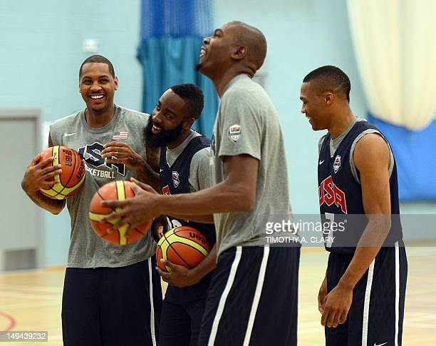 Carmelo Anthony James Harden Kevin Durant and Russell Westbrook of the USA Basketball Men's National Team joke on July 28 2012 during pratice at the...