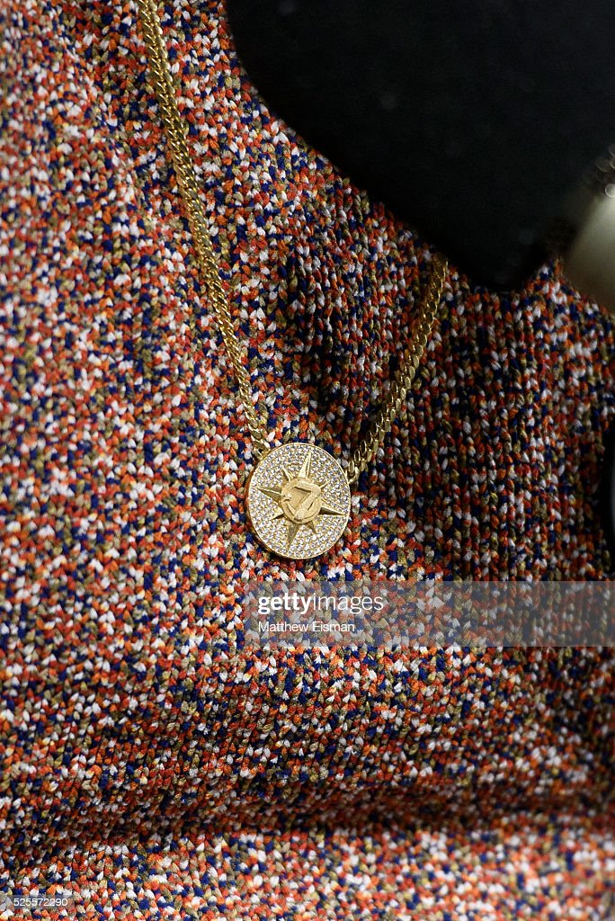 <a gi-track='captionPersonalityLinkClicked' href=/galleries/search?phrase=Carmelo+Anthony&family=editorial&specificpeople=201494 ng-click='$event.stopPropagation()'>Carmelo Anthony</a>, jewelry detail, of the New York Knicks visits 'Sway in the Morning' with Sway Calloway on Eminem's Shade 45 at SiriusXM Studio on April 28, 2016 in New York City.