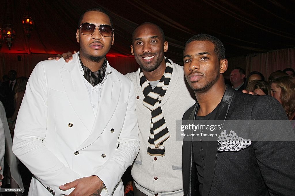 <a gi-track='captionPersonalityLinkClicked' href=/galleries/search?phrase=Carmelo+Anthony&family=editorial&specificpeople=201494 ng-click='$event.stopPropagation()'>Carmelo Anthony</a>, <a gi-track='captionPersonalityLinkClicked' href=/galleries/search?phrase=Kobe+Bryant&family=editorial&specificpeople=201466 ng-click='$event.stopPropagation()'>Kobe Bryant</a> and <a gi-track='captionPersonalityLinkClicked' href=/galleries/search?phrase=Chris+Paul&family=editorial&specificpeople=212762 ng-click='$event.stopPropagation()'>Chris Paul</a> attend Jordan All-Star With Fabolous 23 at Isleworth Golf & Country Club on February 25, 2012 in Windermere, Florida.