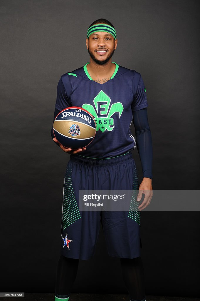 Carmelo Anthony #7 of Eastnern Conference All-Stars poses for a portrait prior to the of the 2014 NBA All-Star Game on February 16, 2014 at the Smoothie King Center in New Orleans, Louisiana.