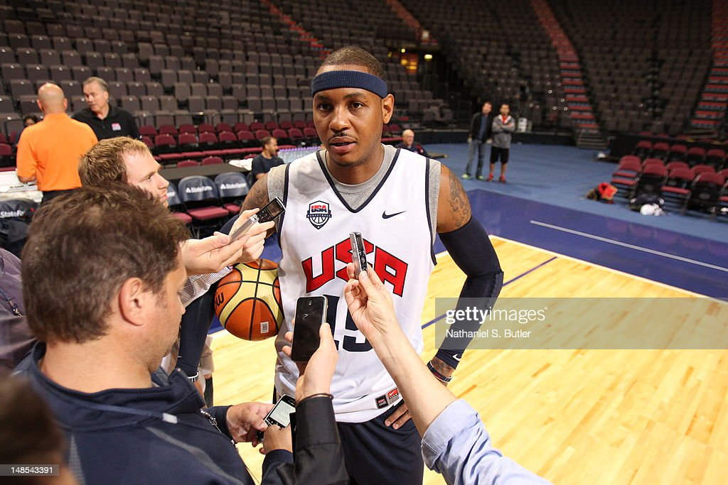 <a gi-track='captionPersonalityLinkClicked' href=/galleries/search?phrase=Carmelo+Anthony&family=editorial&specificpeople=201494 ng-click='$event.stopPropagation()'>Carmelo Anthony</a> #15 of the 2012 US Men's Senior National Team talks to the media during a 2012 US Men's Senior National Team Practice at the Manchester Arena on July 18, 2012 in Manchester, UK.