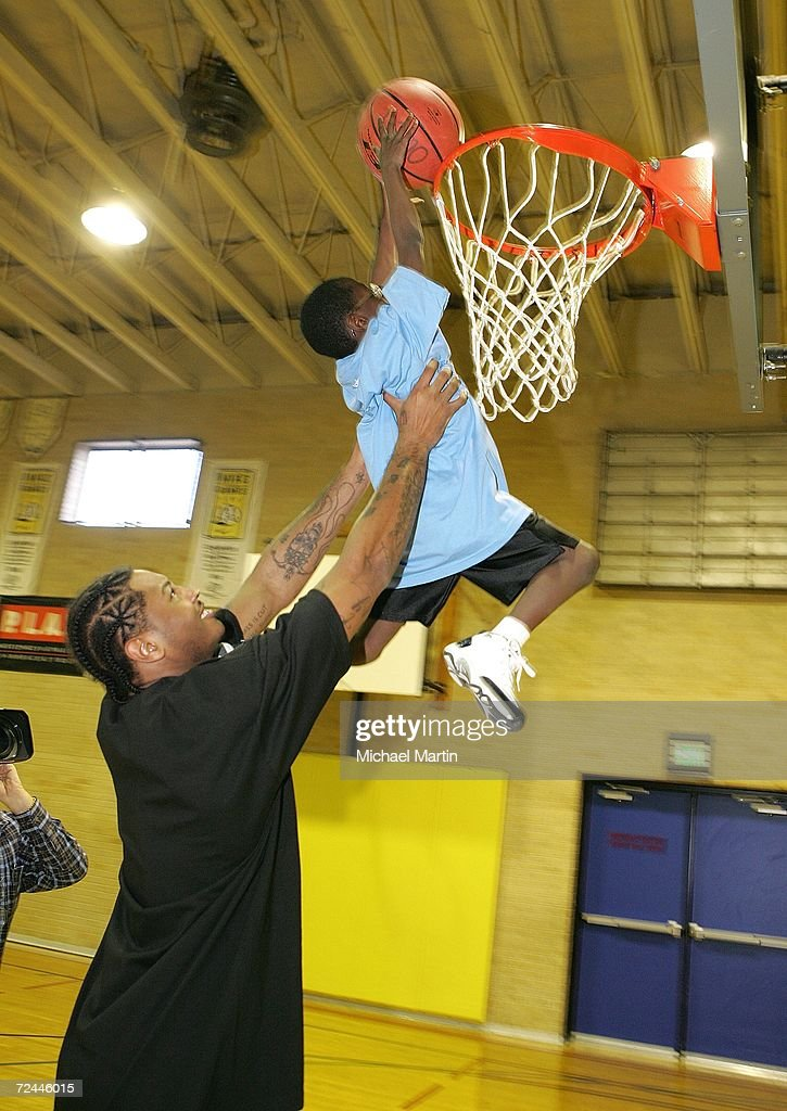 Carmelo Anthony of the Denver Nuggets attends a NBA Cares event at the Owens Boys and Girls Club on November 7 2006 in Denver Colorado NOTE TO USER...
