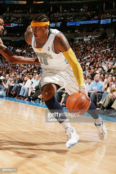 Carmelo Anthony of the Denver Nuggets goes to basket against the Sacramento Kings on April 5 2008 at the Pepsi Center in Denver Colorado NOTE TO USER...