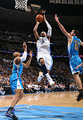 Carmelo Anthony of the Denver Nuggets goes to the basket against the New Orleans Hornets during Game Five of the Western Conference Quarterfinals...