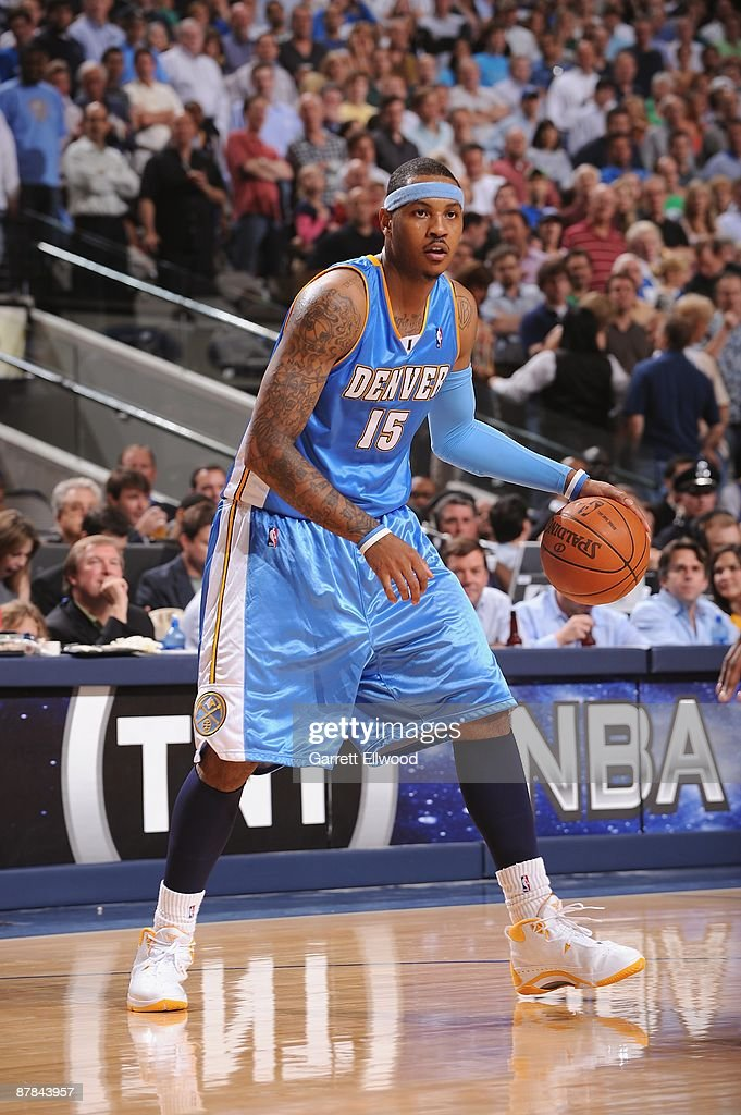 <a gi-track='captionPersonalityLinkClicked' href=/galleries/search?phrase=Carmelo+Anthony&family=editorial&specificpeople=201494 ng-click='$event.stopPropagation()'>Carmelo Anthony</a> #15 of the Denver Nuggets moves the ball against the Dallas Mavericks in Game Four of the Western Conference Semifinals during the 2009 NBA Playoffs at the American Airlines Center on May 11, 2009 in Dallas, Texas. The Mavericks won 119-117.