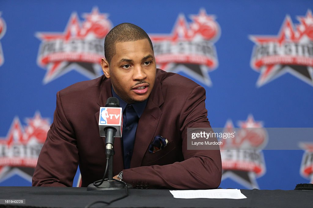 Carmelo Anthony #7 of the Eastern Conference All-Stars talks to the media following the 2013 NBA All-Star Game during All Star Weekend on February 17, 2013 at the Toyota Center in Houston, Texas.