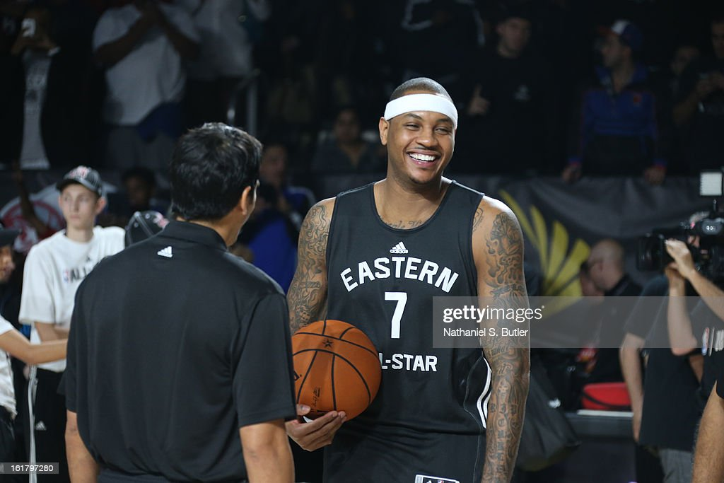 Carmelo Anthony of the New York Knicks and Erik Spoelstra of the Miami Heat share a laugh during the NBA All-Star Practice in Sprint Arena at Jam Session at Jam Session during NBA All Star Weekend on February 16, 2013 at the George R. Brown in Houston, Texas.