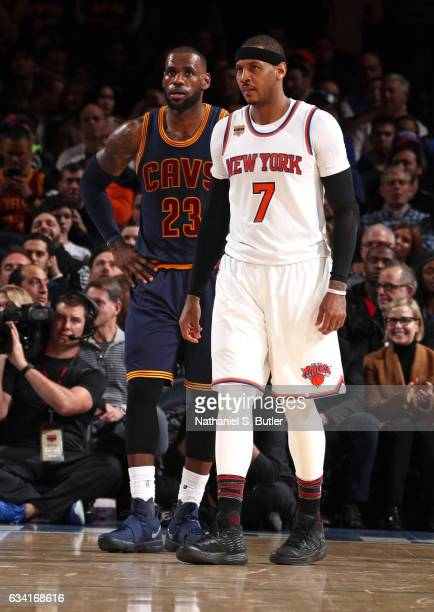 Carmelo Anthony of the New York Knicks and LeBron James of the Cleveland Cavaliers look on during the game on February 4 2017 at Madison Square...