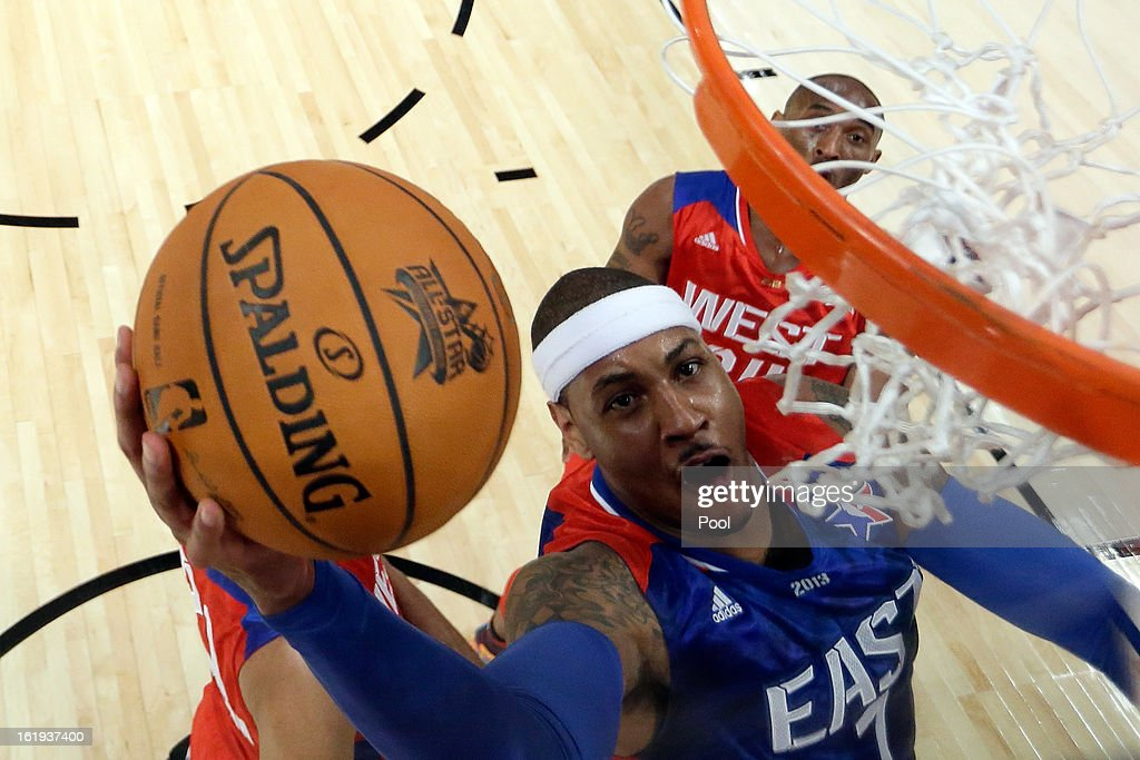 Carmelo Anthony #7 of the New York Knicks and the Eastern Conference lays the ball up during the 2013 NBA All-Star game at the Toyota Center on February 17, 2013 in Houston, Texas.
