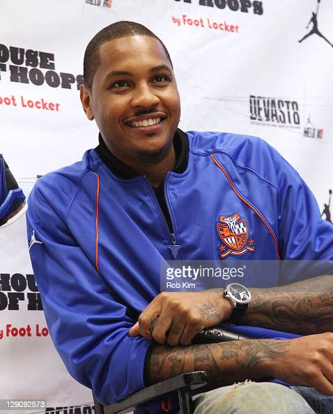 Carmelo Anthony of the New York Knicks attends the Jordan MELO M8 launch at House of Hoops by Foot Locker in Harlem on October 12 2011 in New York...