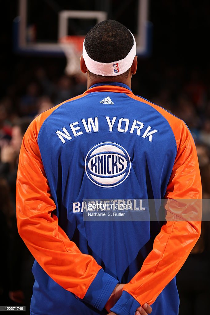 <a gi-track='captionPersonalityLinkClicked' href=/galleries/search?phrase=Carmelo+Anthony&family=editorial&specificpeople=201494 ng-click='$event.stopPropagation()'>Carmelo Anthony</a> #7 of the New York Knicks before playing a game against the Atlanta Hawks at Madison Square Garden in New York City on November 16, 2013.