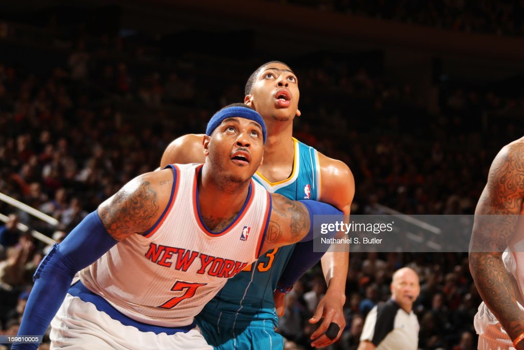 <a gi-track='captionPersonalityLinkClicked' href=/galleries/search?phrase=Carmelo+Anthony&family=editorial&specificpeople=201494 ng-click='$event.stopPropagation()'>Carmelo Anthony</a> #7 of the New York Knicks boxes out against Anthony Davis #23 of the New Orleans Hornets on January 13, 2013 at Madison Square Garden in New York City.