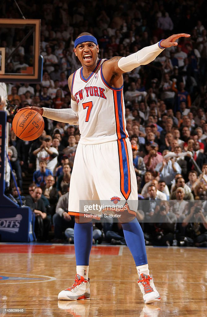 <a gi-track='captionPersonalityLinkClicked' href=/galleries/search?phrase=Carmelo+Anthony&family=editorial&specificpeople=201494 ng-click='$event.stopPropagation()'>Carmelo Anthony</a> #7 of the New York Knicks calls a play in Game Three of the Eastern Conference Quarterfinals against the Miami Heat during the 2012 NBA Playoffs on May 3, 2012 at Madison Square Garden in New York City, New York.