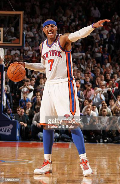 Carmelo Anthony of the New York Knicks calls a play in Game Three of the Eastern Conference Quarterfinals against the Miami Heat during the 2012 NBA...