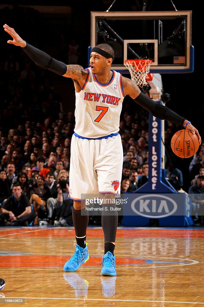 Carmelo Anthony #7 of the New York Knicks calls a play out to his teammates against the Brooklyn Nets on January 21, 2013 at Madison Square Garden in New York City.