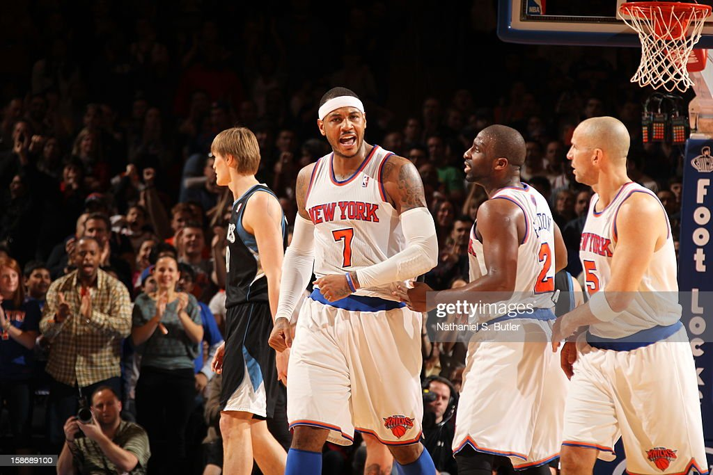 Carmelo Anthony #7 of the New York Knicks celebrates during a game played against the Minnesota Timberwolves on December 23, 2012 at Madison Square Garden in New York City.