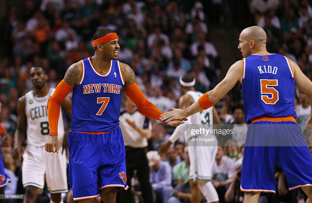 Carmelo Anthony #7 of the New York Knicks celebrates with Jason Kidd #5 in the second half against the Boston Celtics during Game Six of the Eastern Conference Quarterfinals of the 2013 NBA Playoffs on May 3, 2013 at TD Garden in Boston, Massachusetts.