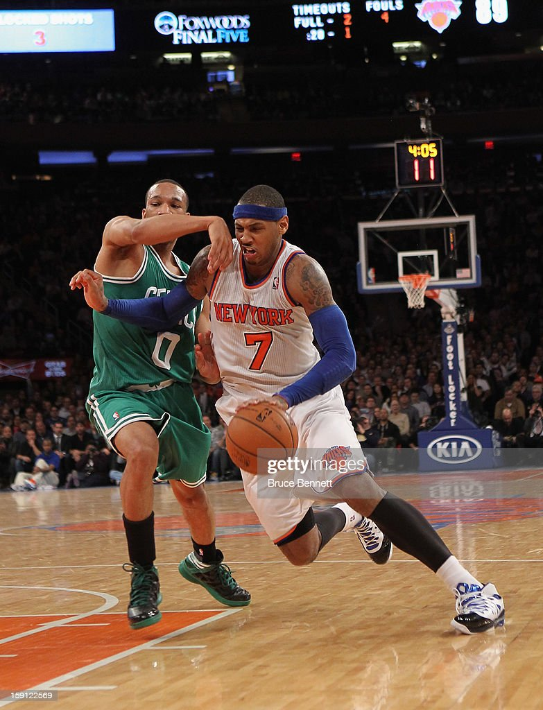 Carmelo Anthony #7 of the New York Knicks dribbles the ball against the Boston Celtics at Madison Square Garden on January 7, 2013 in New York City.