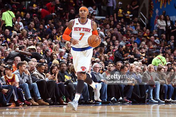 Carmelo Anthony of the New York Knicks dribbles the ball up court against the Cleveland Cavaliers on October 25 2016 at Quicken Loans Arena in...
