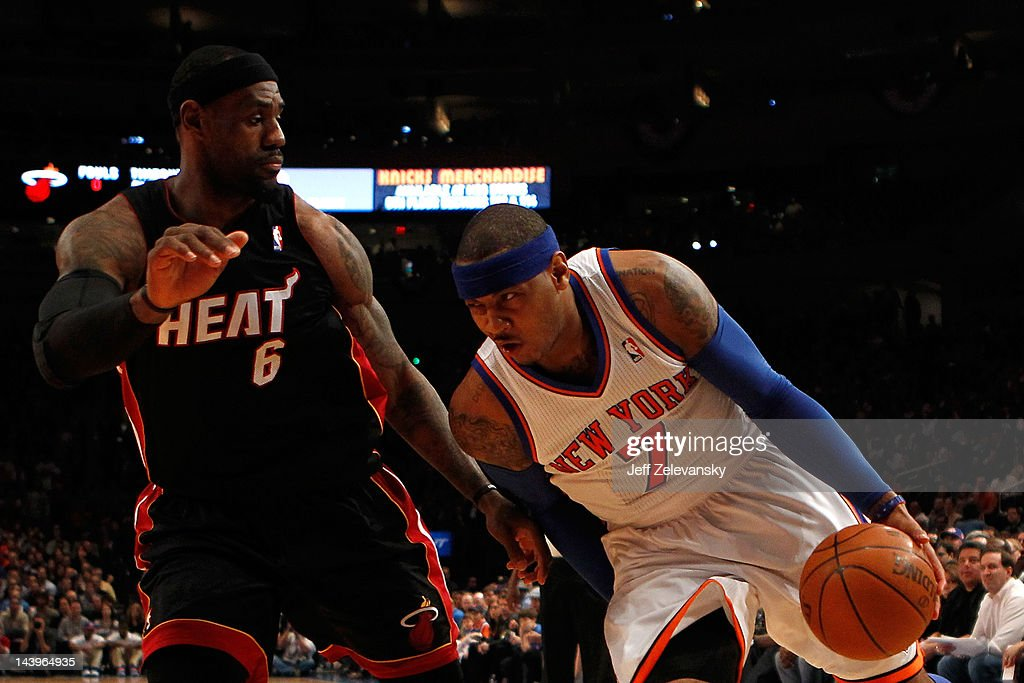 Carmelo Anthony #7 of the New York Knicks drives against LeBron James #6 of the Miami Heat in the first quarter of Game Four of the Eastern Conference Quarterfinals in the 2012 NBA Playoffs on May 6, 2012 at Madison Square Garden in New York City.