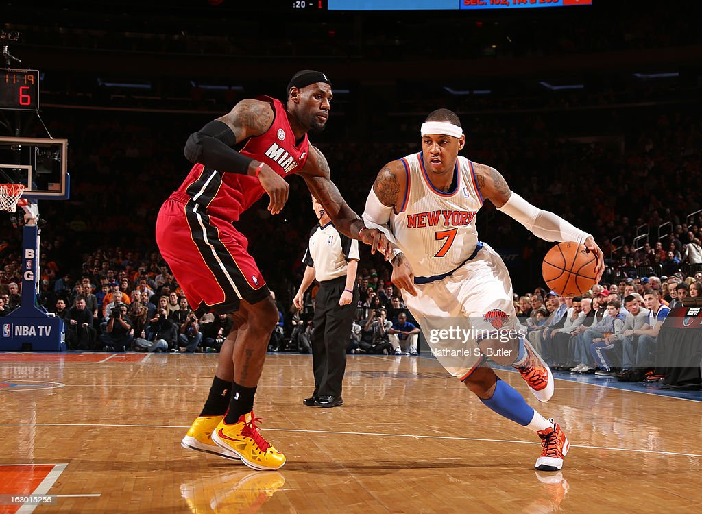 Carmelo Anthony #7 of the New York Knicks drives against LeBron James #6 of the Miami Heat on March 3, 2013 at Madison Square Garden in New York City.