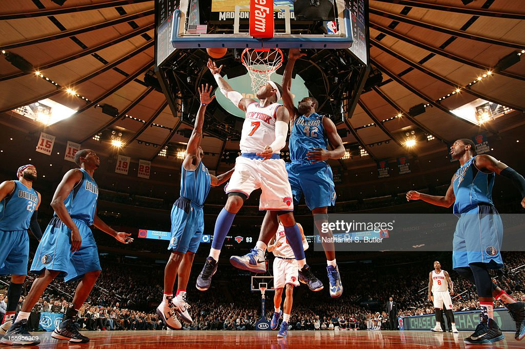 <a gi-track='captionPersonalityLinkClicked' href=/galleries/search?phrase=Carmelo+Anthony&family=editorial&specificpeople=201494 ng-click='$event.stopPropagation()'>Carmelo Anthony</a> #7 of the New York Knicks drives to the basket against the Dallas Mavericks during the game on November 9, 2012 at Madison Square Garden in New York City.