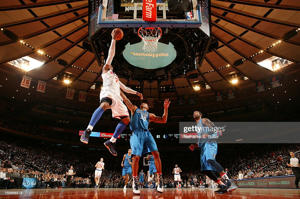 <a gi-track='captionPersonalityLinkClicked' href=/galleries/search?phrase=Carmelo+Anthony&family=editorial&specificpeople=201494 ng-click='$event.stopPropagation()'>Carmelo Anthony</a> #7 of the New York Knicks drives to the basket against the Dallas Mavericks on November 9, 2012 at Madison Square Garden in New York City.