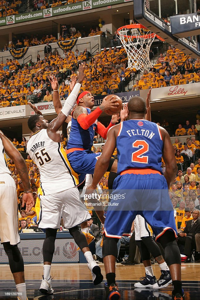 <a gi-track='captionPersonalityLinkClicked' href=/galleries/search?phrase=Carmelo+Anthony&family=editorial&specificpeople=201494 ng-click='$event.stopPropagation()'>Carmelo Anthony</a> #7 of the New York Knicks drives to the basket against the Indiana Pacers in Game Six of the Eastern Conference Semifinals during the 2013 NBA Playoffs on May 18, 2013 at Bankers Life Fieldhouse in Indianapolis, Indiana.