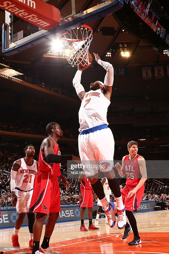 <a gi-track='captionPersonalityLinkClicked' href=/galleries/search?phrase=Carmelo+Anthony&family=editorial&specificpeople=201494 ng-click='$event.stopPropagation()'>Carmelo Anthony</a> #7 of the New York Knicks drives to the basket and shoots against the Atlanta Hawks during a game at Madison Square Garden in New York City.