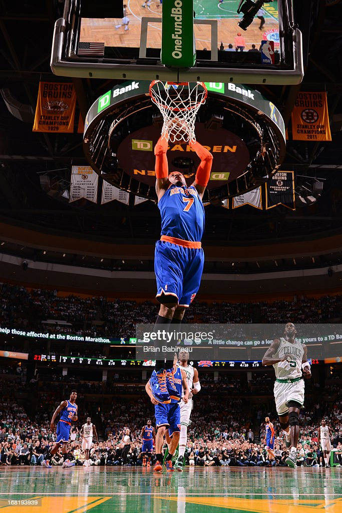 Carmelo Anthony #7 of the New York Knicks dunks against the Boston Celtics in Game Six of the Eastern Conference Quarterfinals during the NBA Playoffs on May 3, 2013 at the TD Garden in Boston, Massachusetts.