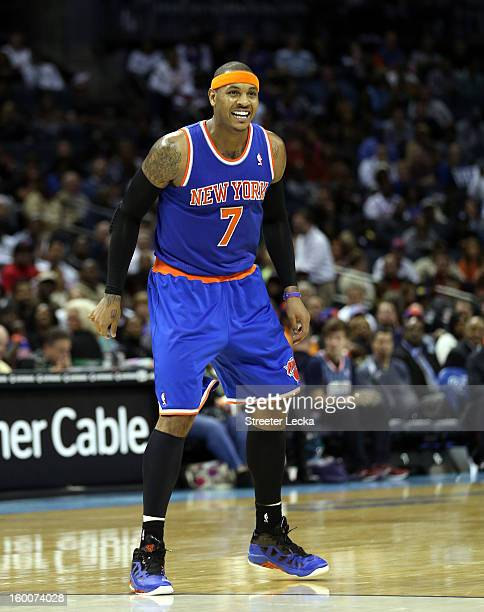 Carmelo Anthony of the New York Knicks during their game at Time Warner Cable Arena on December 5 2012 in Charlotte North Carolina NOTE TO USER User...