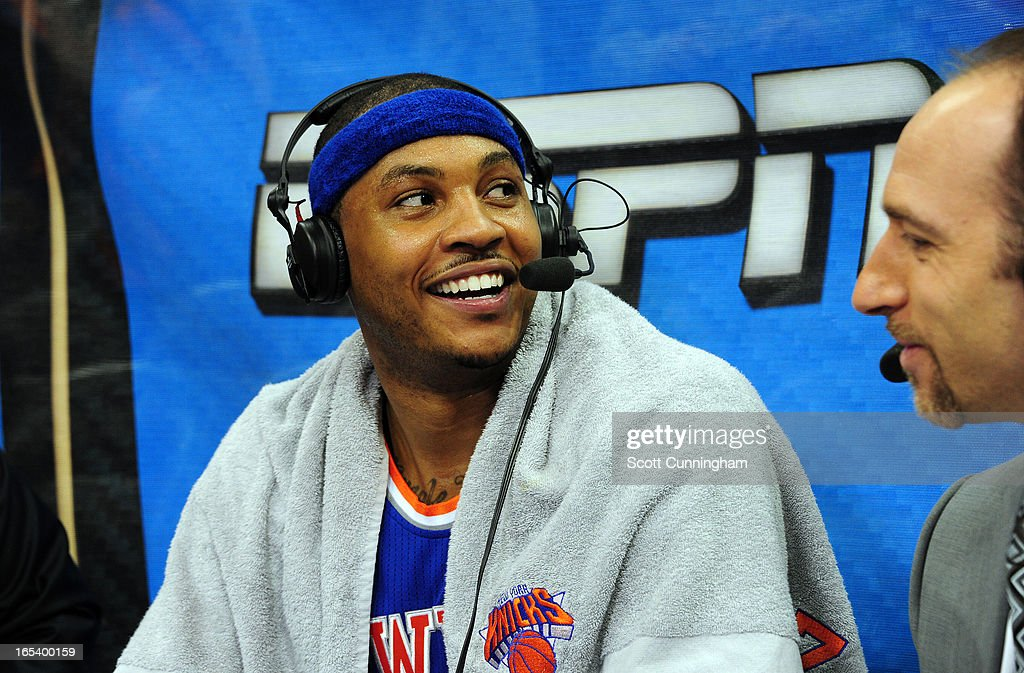 <a gi-track='captionPersonalityLinkClicked' href=/galleries/search?phrase=Carmelo+Anthony&family=editorial&specificpeople=201494 ng-click='$event.stopPropagation()'>Carmelo Anthony</a> #7 of the New York Knicks gets interviewd after the game against of the Atlanta Hawks on April 3, 2013 at Philips Arena in Atlanta, Georgia.