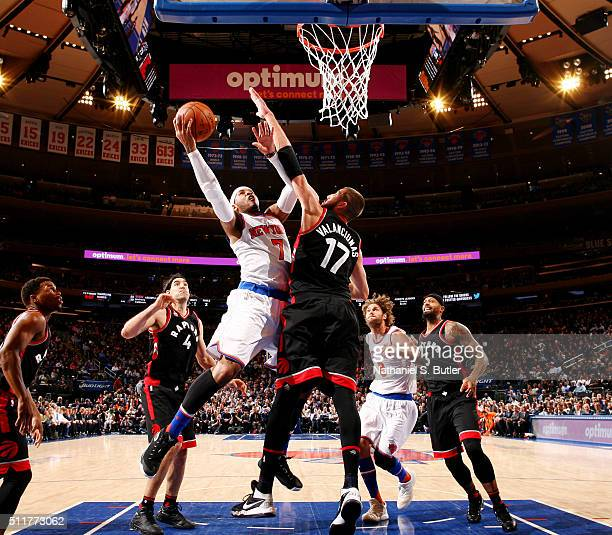 Carmelo Anthony of the New York Knicks goes to the basket against the Toronto Raptors on February 22 2016 at Madison Square Garden in New York City...