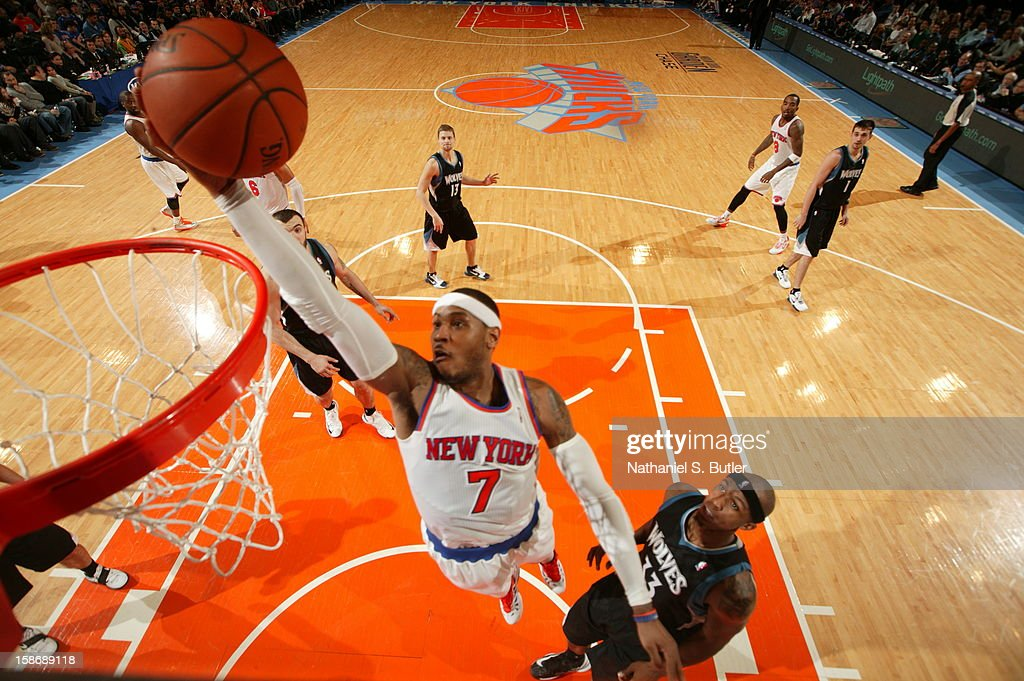 Carmelo Anthony #7 of the New York Knicks goes up for a layup in a game played against the Minnesota Timberwolves on December 23, 2012 at Madison Square Garden in New York City.