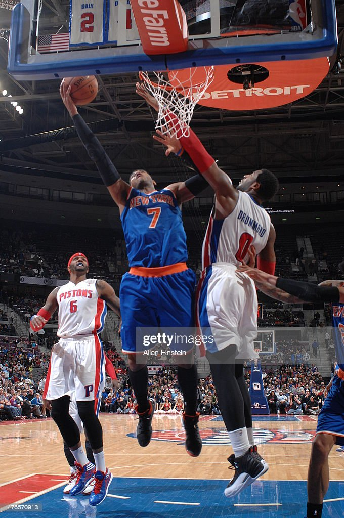 <a gi-track='captionPersonalityLinkClicked' href=/galleries/search?phrase=Carmelo+Anthony&family=editorial&specificpeople=201494 ng-click='$event.stopPropagation()'>Carmelo Anthony</a> #7 of the New York Knicks goes up for a shot during a game against the Detroit Pistons on March 3, 2014 at The Palace of Auburn Hills in Auburn Hills, Michigan.