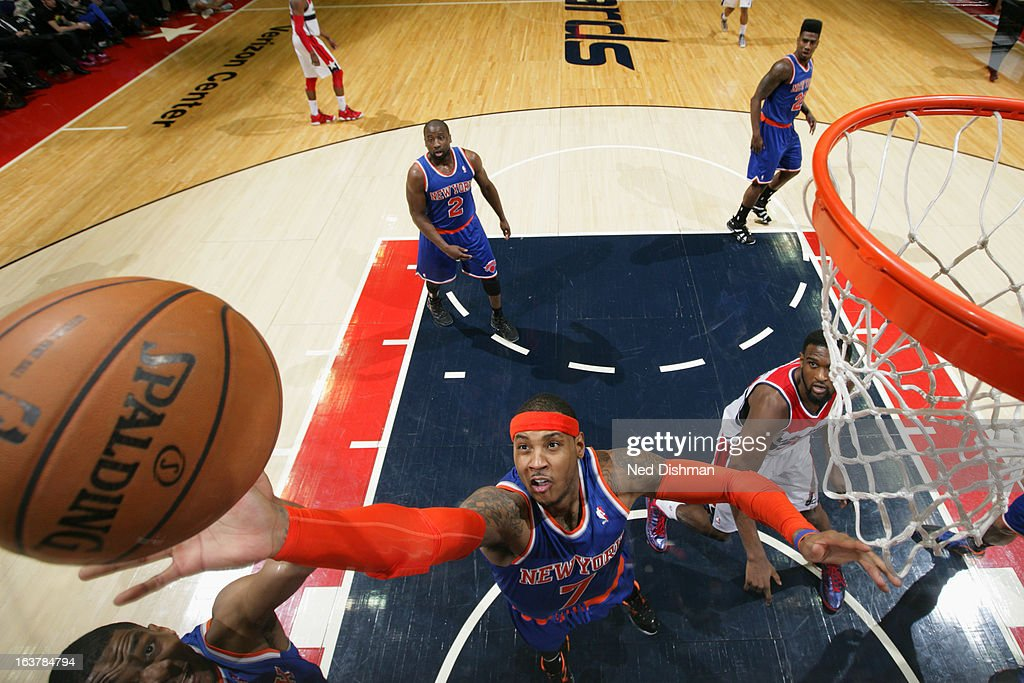 Carmelo Anthony #7 of the New York Knicks grabs a rebound against the Washington Wizards at the Verizon Center on March 1, 2013 in Washington, DC.