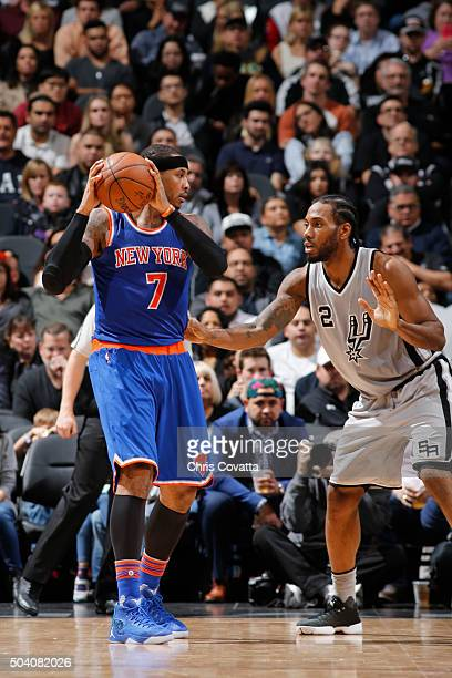 Carmelo Anthony of the New York Knicks handles the ball against Kawhi Leonard of the San Antonio Spurs on December 8 2016 at the ATT Center in San...
