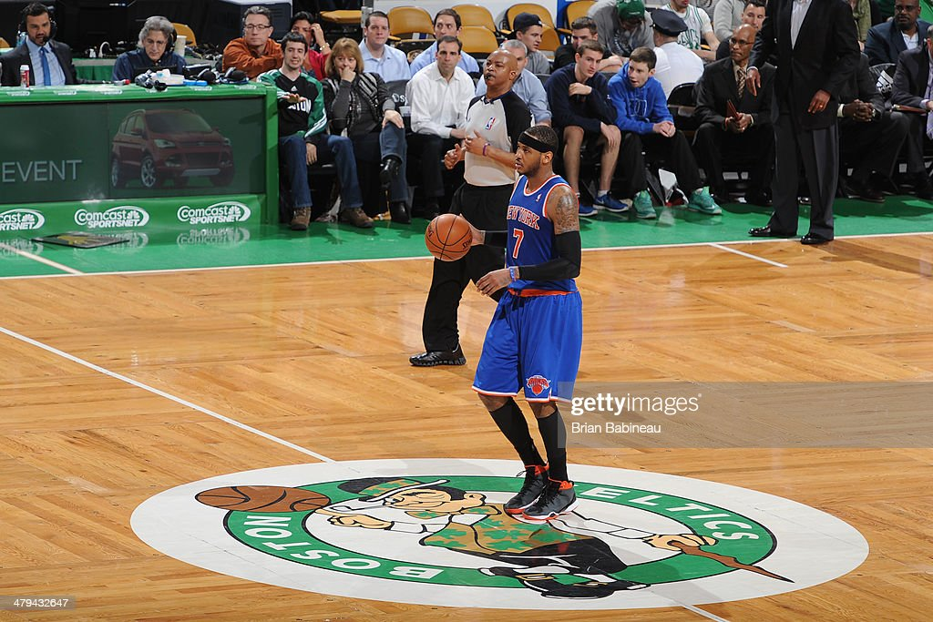 <a gi-track='captionPersonalityLinkClicked' href=/galleries/search?phrase=Carmelo+Anthony&family=editorial&specificpeople=201494 ng-click='$event.stopPropagation()'>Carmelo Anthony</a> #7 of the New York Knicks handles the ball against the Boston Celtics on March 12, 2014 at the TD Garden in Boston, Massachusetts.